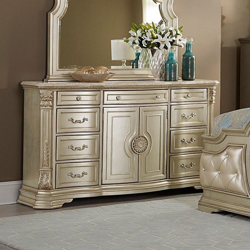 Antoinetta Dresser W/ Marble Top (Champagne) Homelegance
