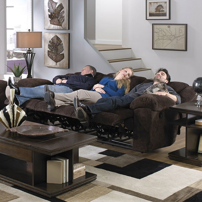 Transformer Triple Reclining Sofa W/ Drop Down Table (Chocolate)