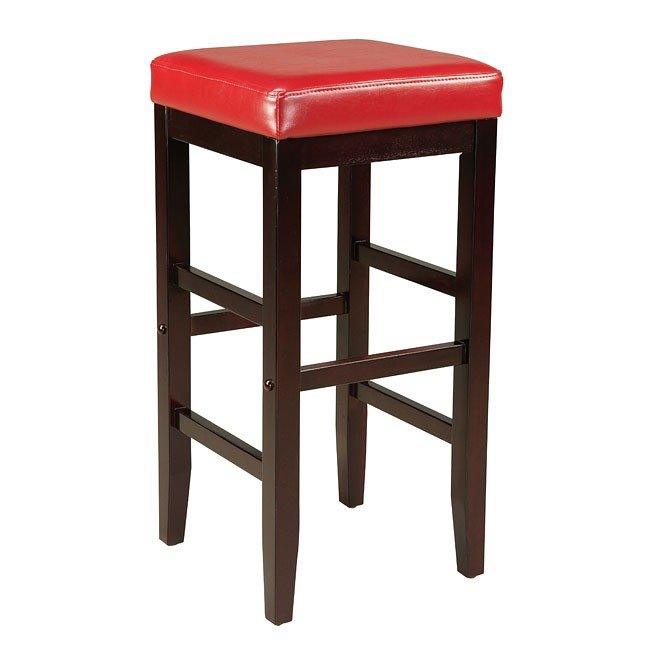 Smart 29 Inch Square Stool Red Standard Furniture
