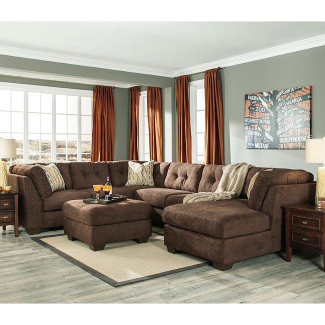 Delta City Chocolate Sectional Set Benchcraft Furniture Cart