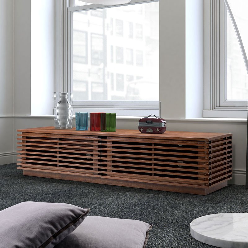 Linea Wide TV Stand (Walnut) Zuo Modern   Furniture Cart on