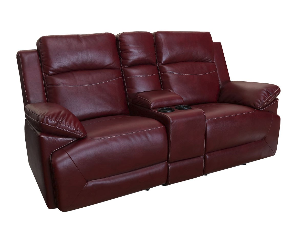 Cortez Dual Reclining Glider Console Loveseat Red New