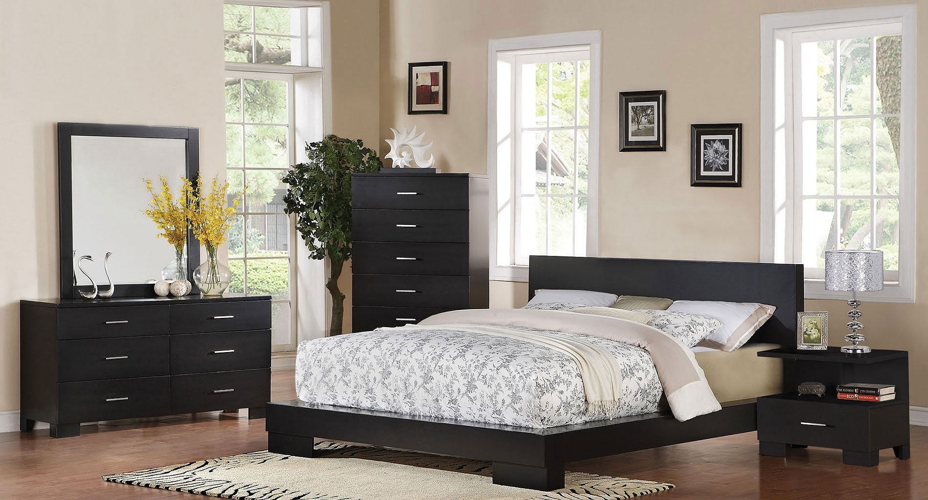 London Low Profile Bedroom Set (Black)