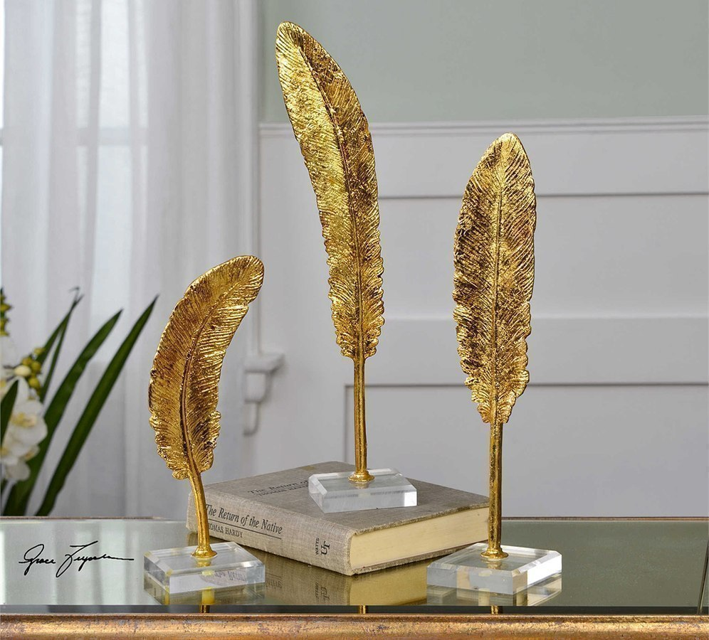 Feathers Sculptures (Gold) (Set Of 3)
