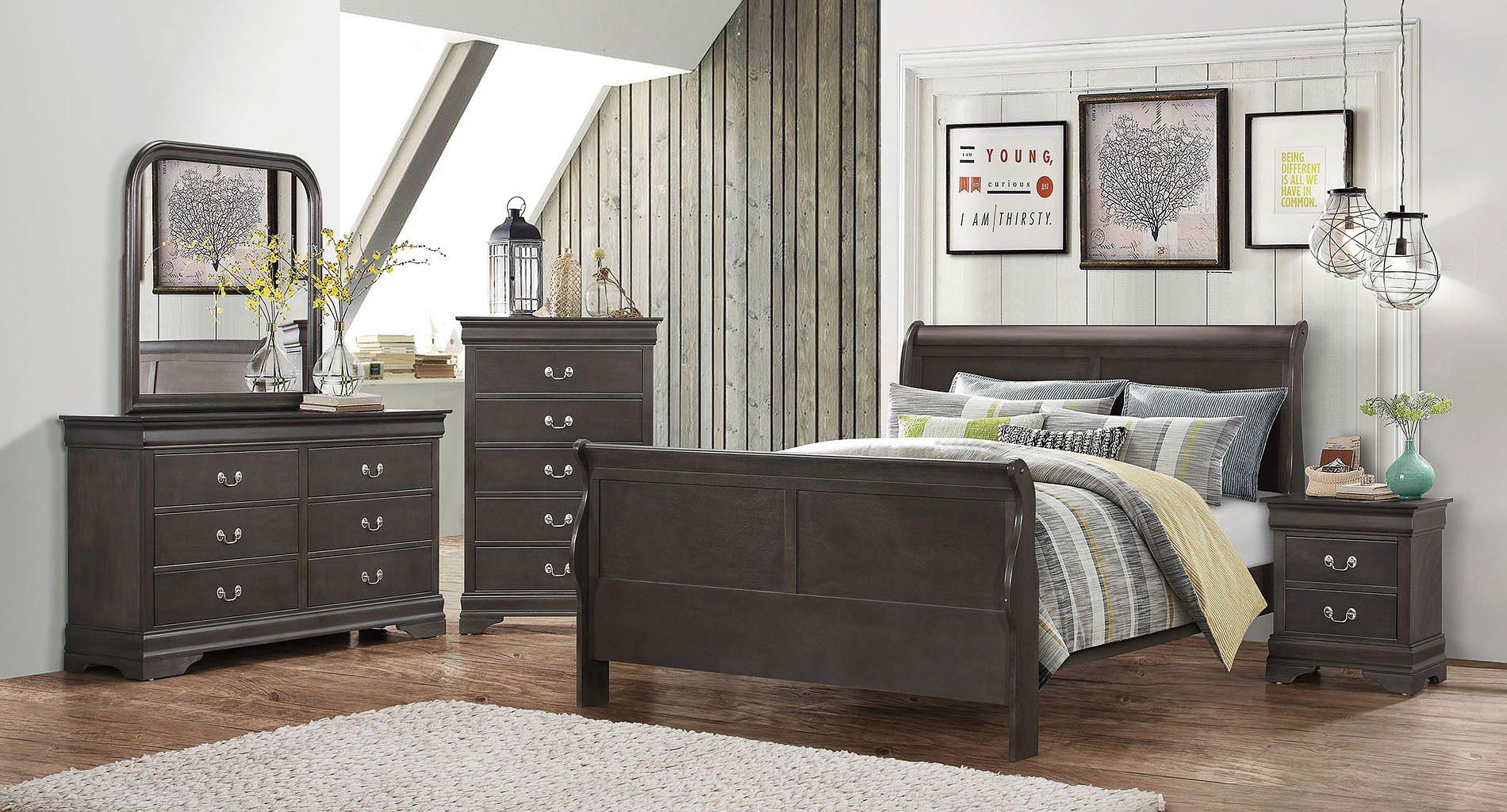 Hershel Louis Philippe Bedroom Set (Dark Grey) Coaster Furniture ...