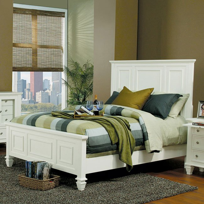 Sandy Beach Panel Bedroom Set (White) Coaster Furniture