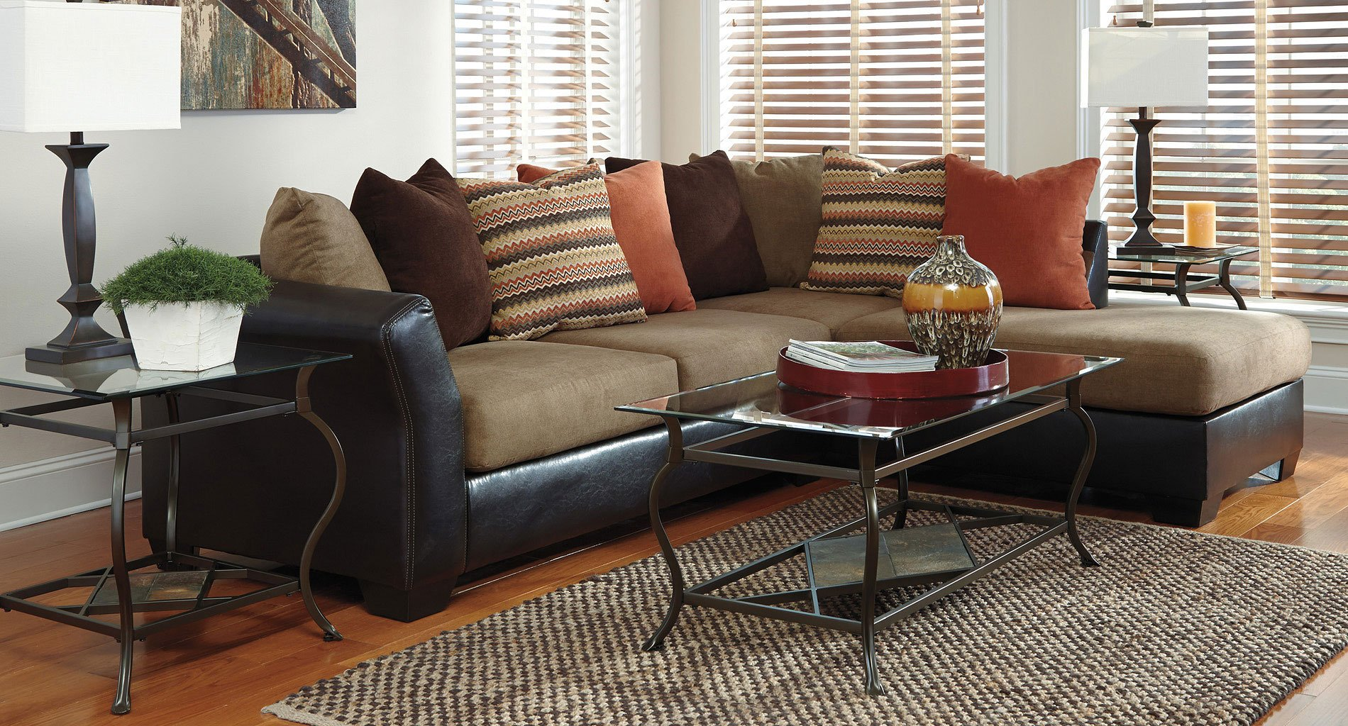 Armant Mocha Sectional Living Room Set Signature Design ...