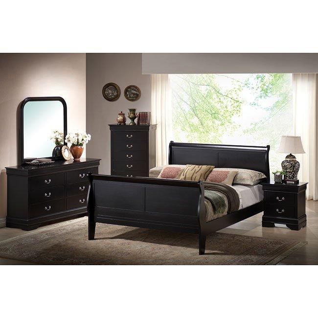 Louis Phillipe Sleigh Bedroom Set (Black) World Imports | Furniture Cart