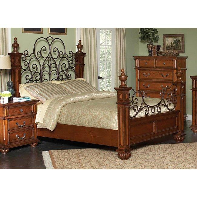 Kessner Poster Bed (Oak)