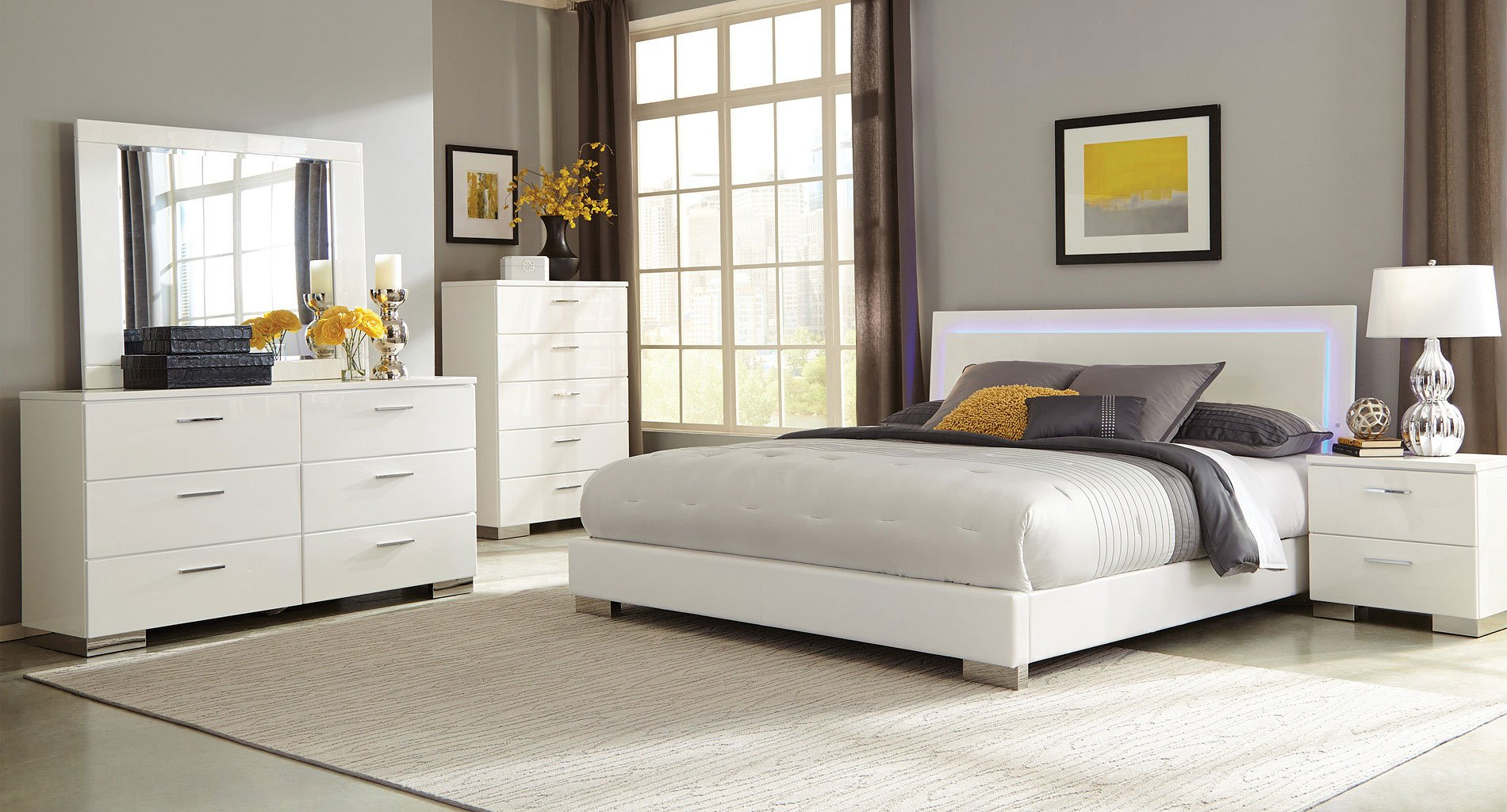 Felicity Low Profile Bedroom Set W/ LED Light