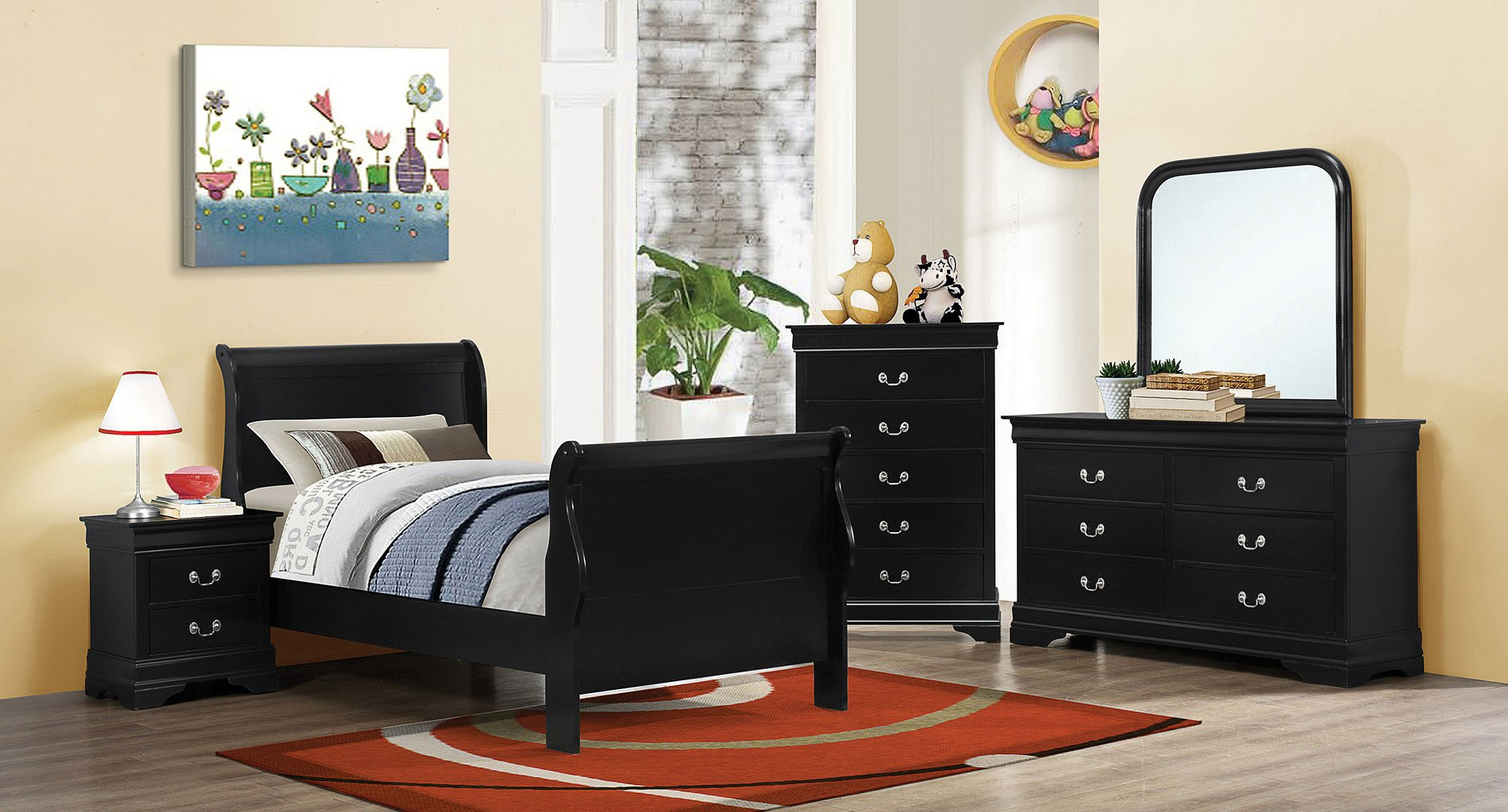 Louis philippe youth bedroom set black coaster furniture - Louis philippe bedroom collection ...