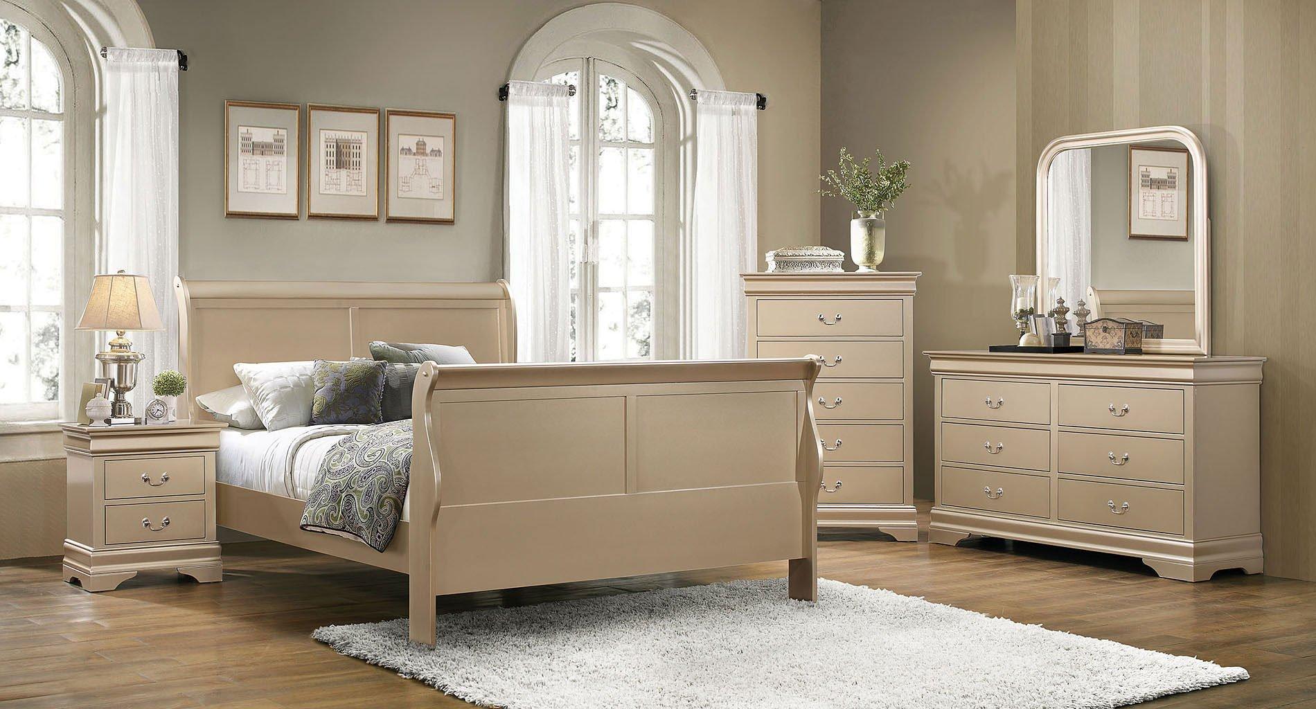 Hershel Louis Philippe Bedroom Set (Champagne) Coaster Furniture ...