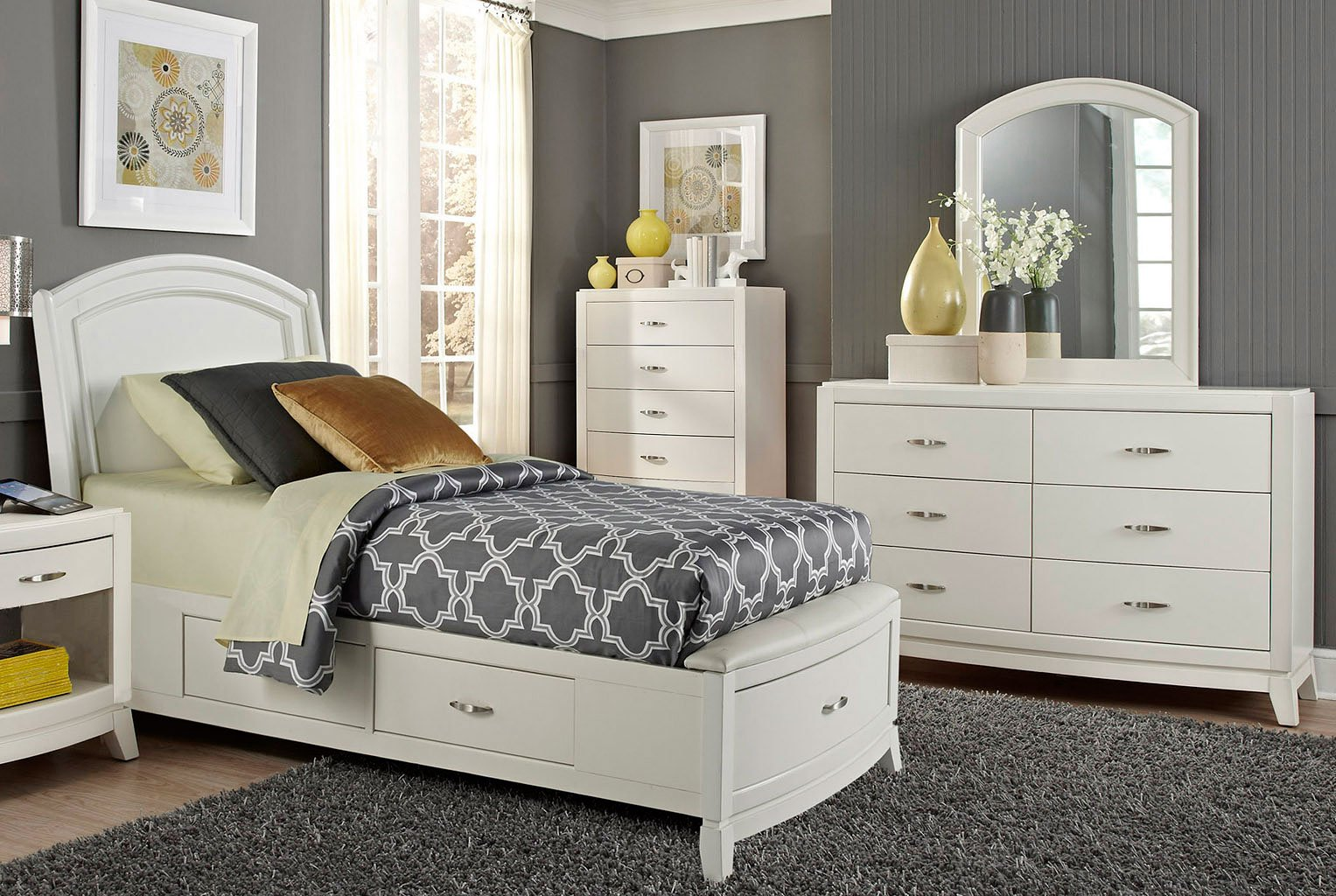 Avalon ii youth super storage bedroom set w upholstered - Youth bedroom furniture with storage ...