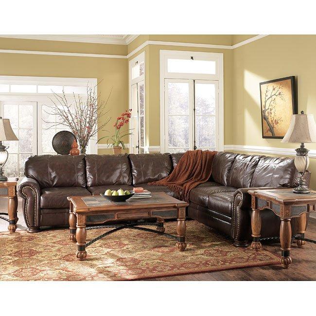 palmer  walnut sectional living room set millennium 1