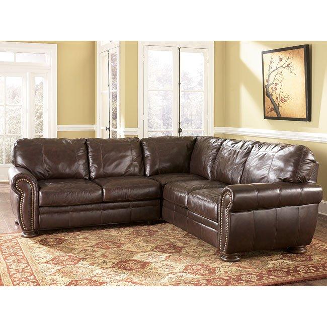 Palmer walnut sectional living room set millennium 1 - Ashley millennium living room furniture ...
