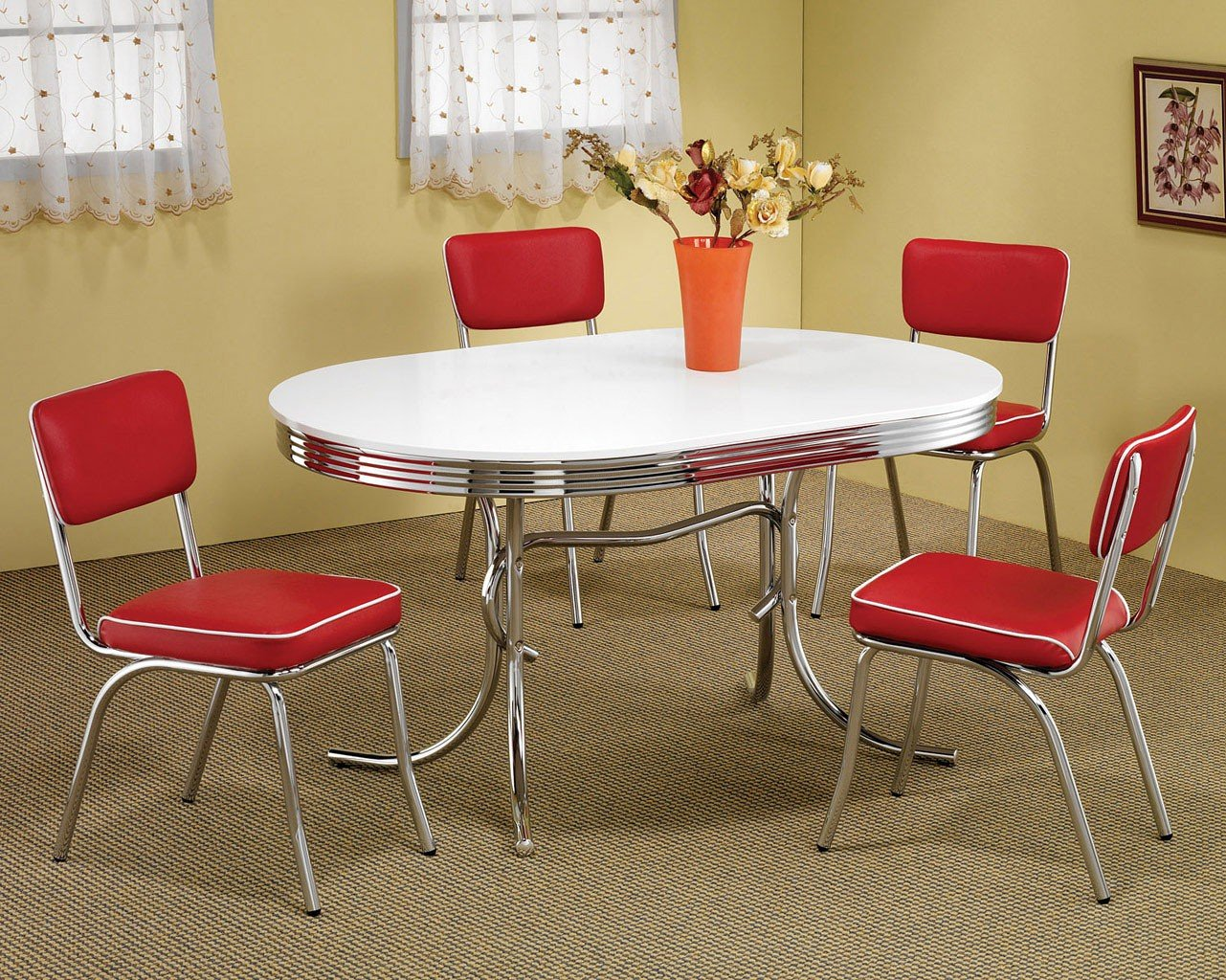 Retro Dining Room Set W/ Red Chairs Coaster Furniture | Furniture Cart