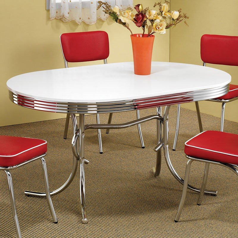 Vintage Dining Room Chairs: Retro Dining Room Set W/ Red Chairs Coaster Furniture