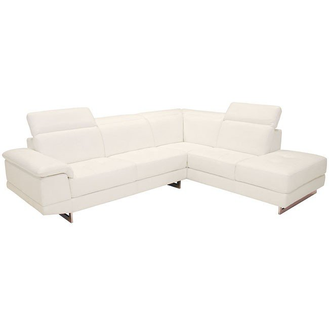 2071 Italian Leather Sectional (White)