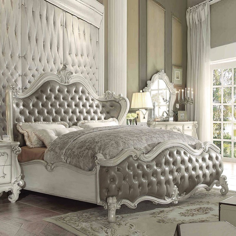 Versailles Upholstered Bed (Bone White)