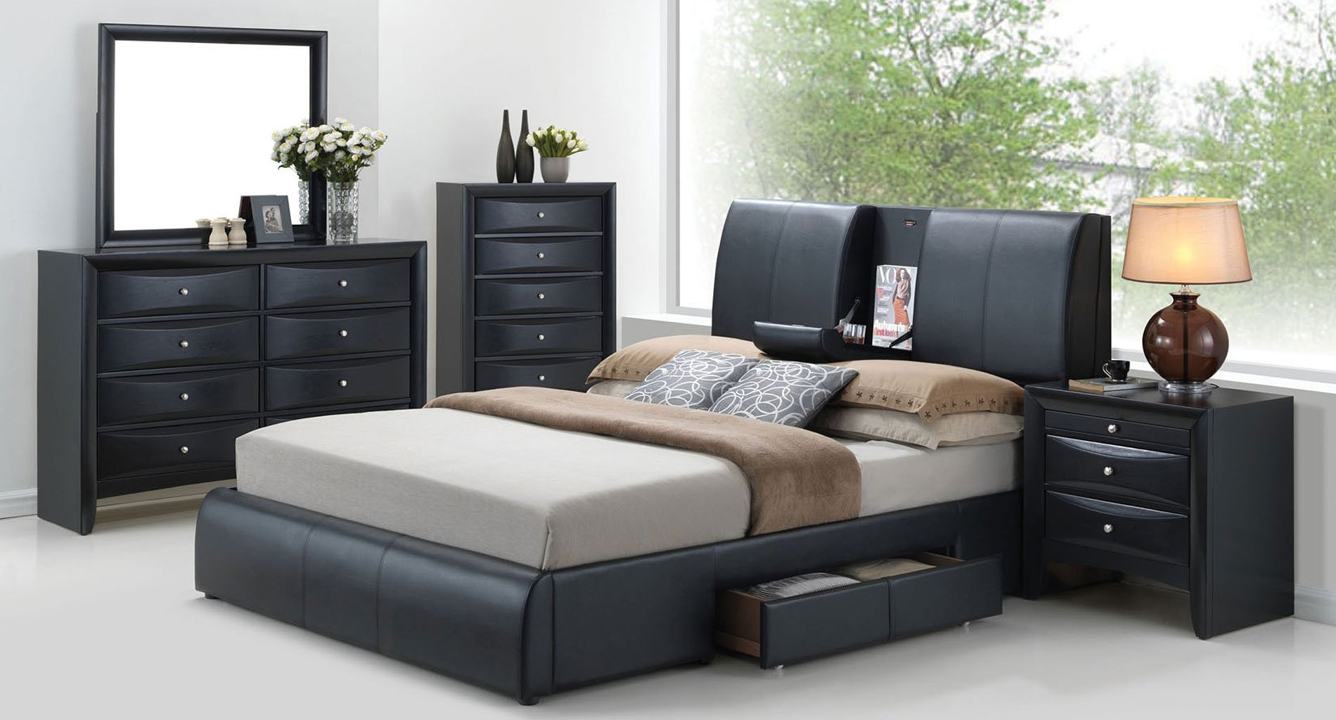 Ireland Bedroom Set W Kofi Upholstered Storage Bed Acme