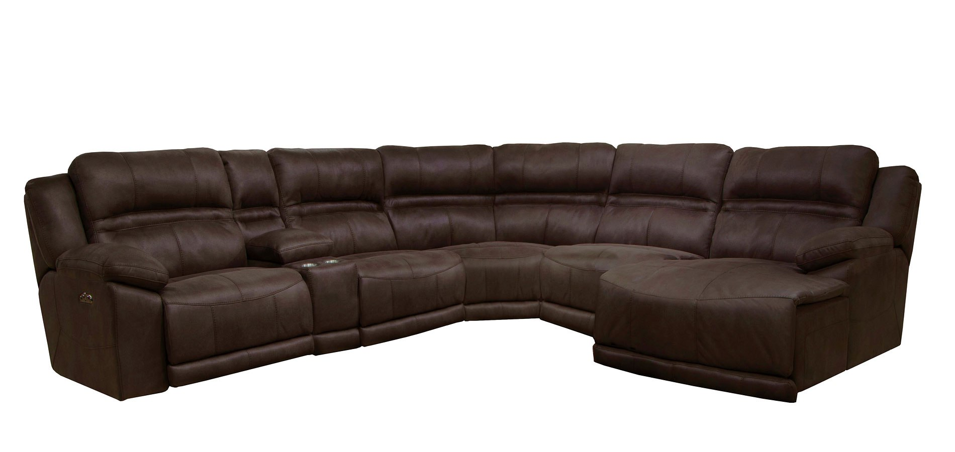 Delicieux Braxton Modular Power Reclining Sectional W/ Chaise (Dark Chocolate)