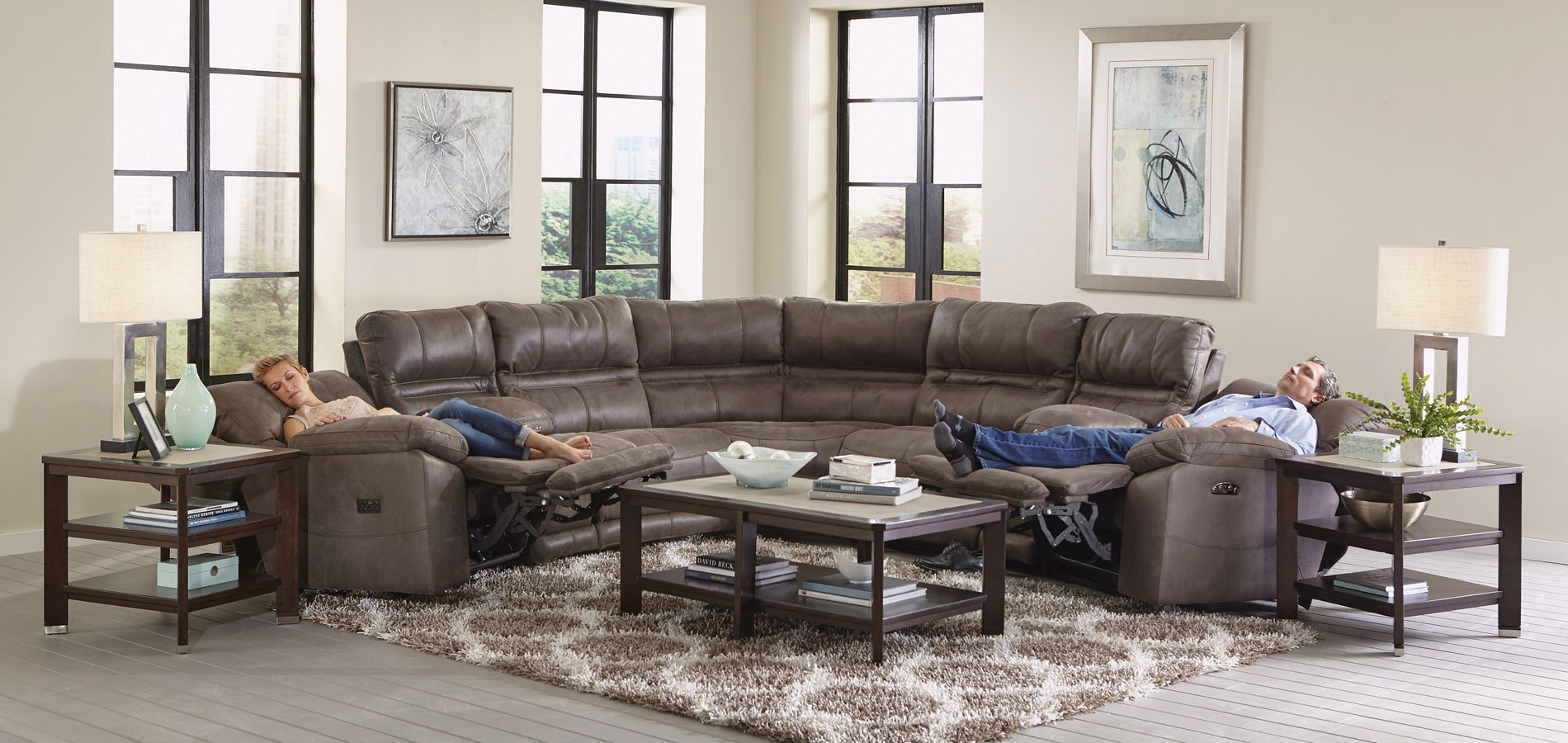 Charmant Braxton Modular Power Reclining Sectional (Charcoal)