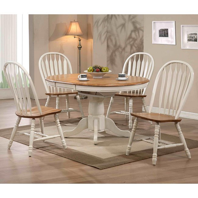 Missouri Round Dining Table Black Rustic Oak Eci: Missouri Round Dining Room Set (Antique White/ Rustic Oak