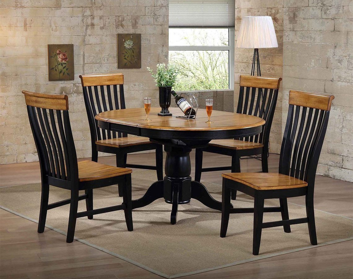 Missouri Black and Rustic Round Dining Set w/ Lancaster Chairs