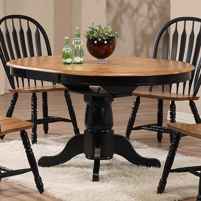 Dining Room Sets Black: Missouri Round Dining Room Set (Black/ Rustic Oak) ECI