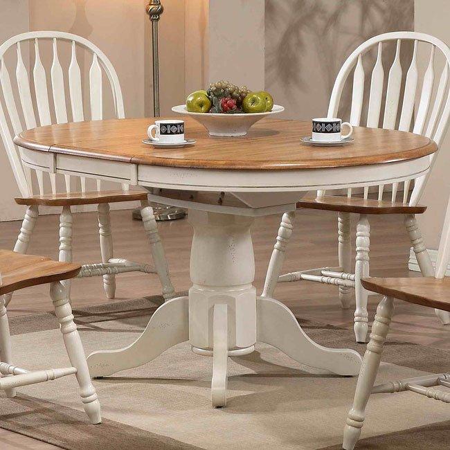 Missouri Round Dining Table Black Rustic Oak Eci: Missouri Round Dining Table (Antique White/ Rustic Oak