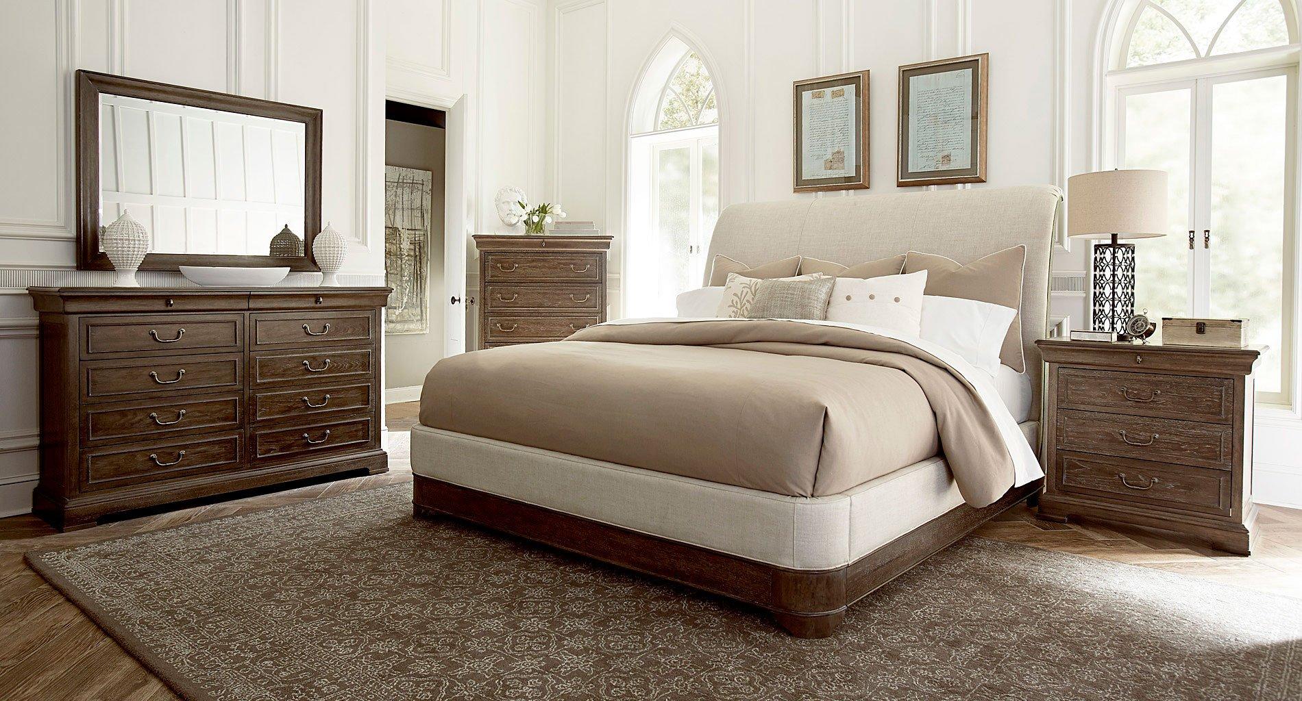 Saint germain upholstered sleigh bedroom set art furniture furniture cart for Upholstered sleigh bedroom set