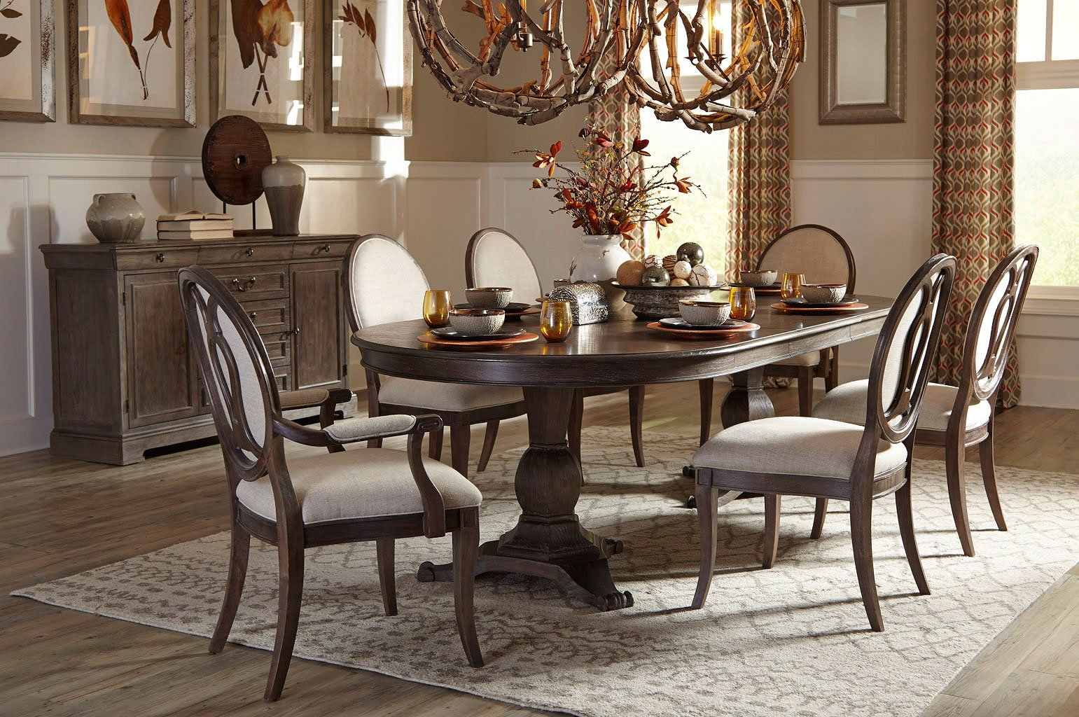 Saint germain oval dining room set w oval back chairs