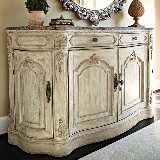 Jessica Mcclintock The Boutique Buffet W Marble Top White Veil American Drew Furniture Cart