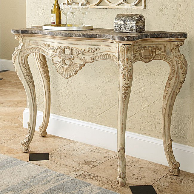 Jessica Mcclintock The Boutique Console Table W Marble White Veil