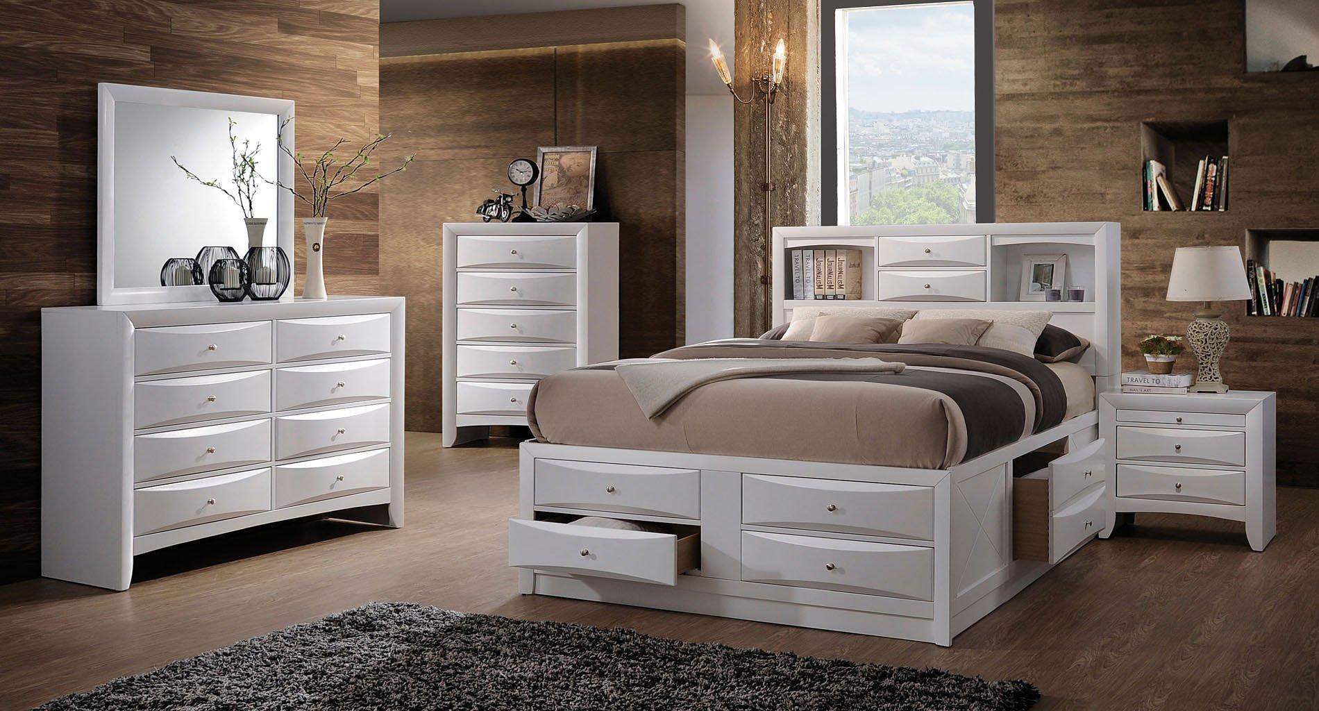 Ireland Bookcase Bedroom Set White Acme Furniture