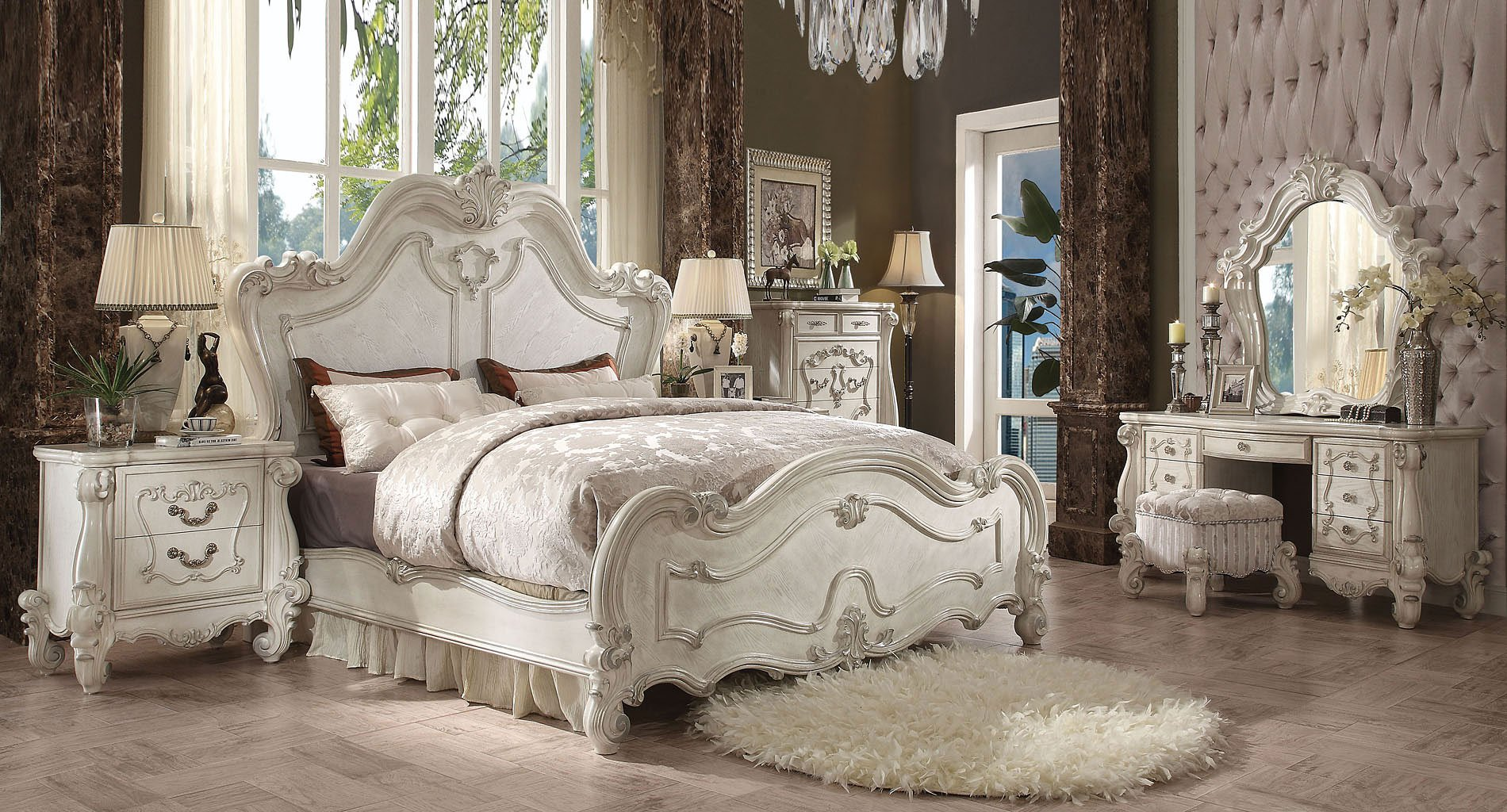 Versailles Panel Bedroom Set (Bone White)