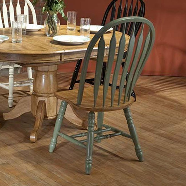 Missouri Side Chair (Set of 2) (Green/ Rustic Oak)