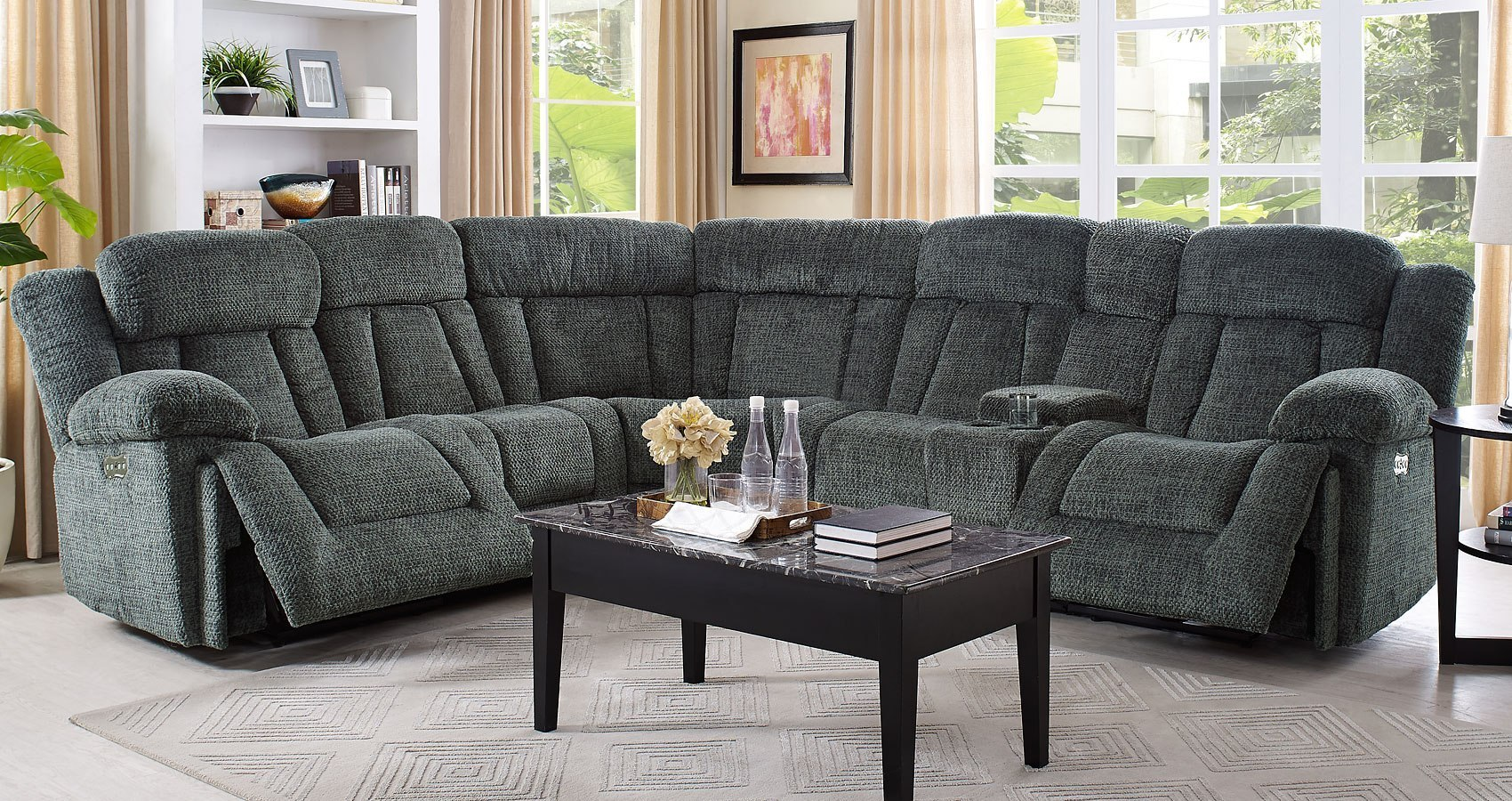 Laura Modular Power Reclining Sectional Set Pewter New
