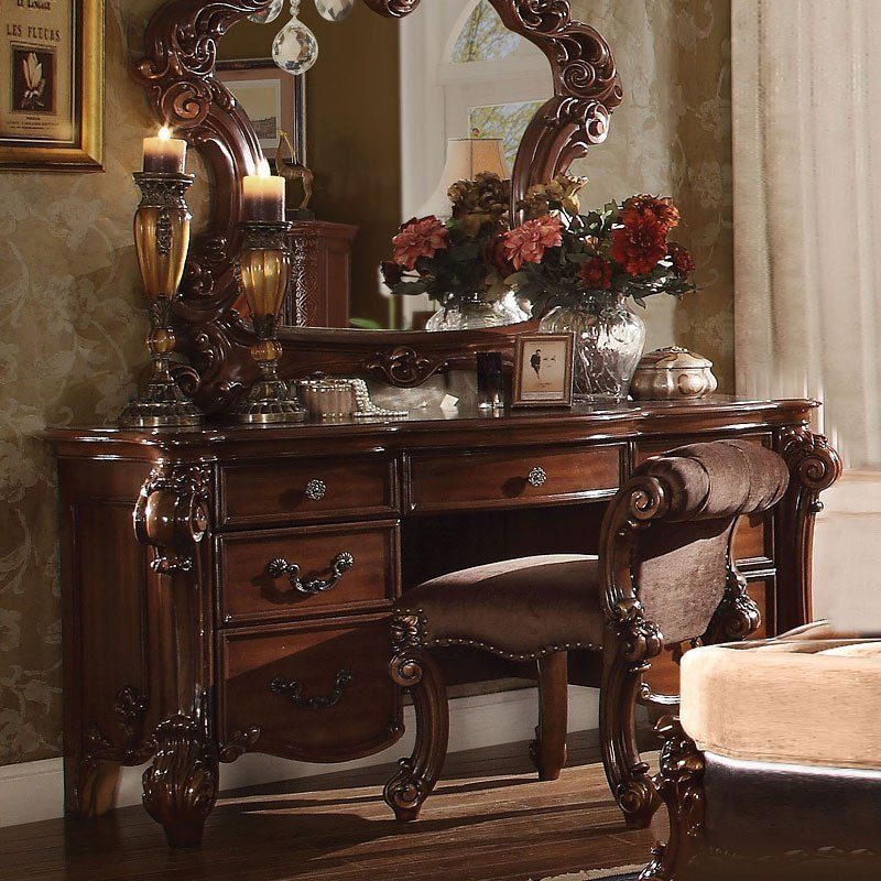 Vendome Vanity Desk Cherry Acme Furniture Furniture Cart