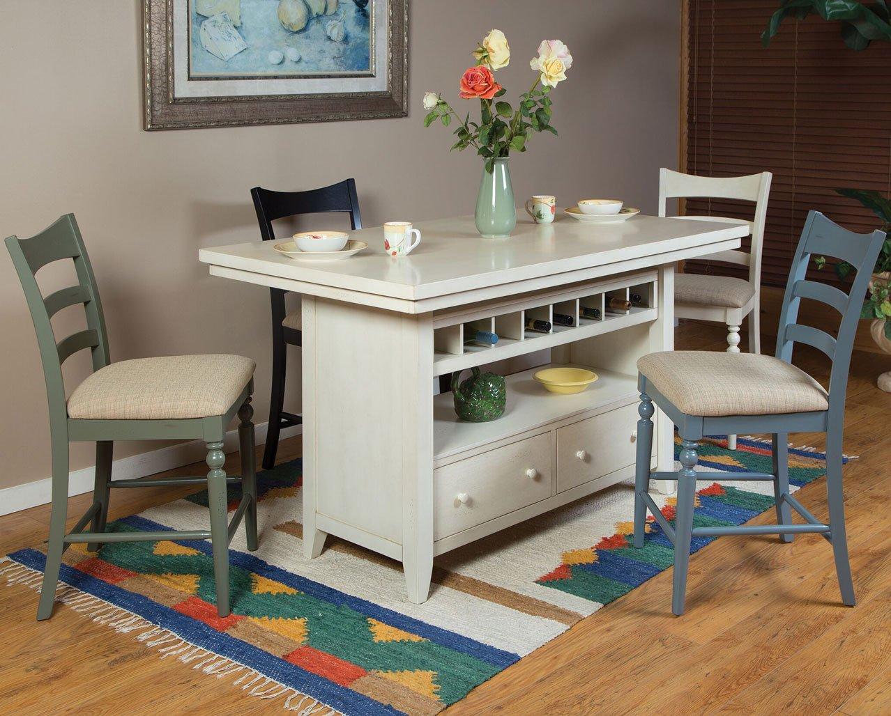 Antique White Island Set W Chair Options Eci Furniture 1