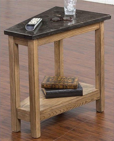 Blue Moon Chairside Table W/ Bluestone Top (Desert Sand)
