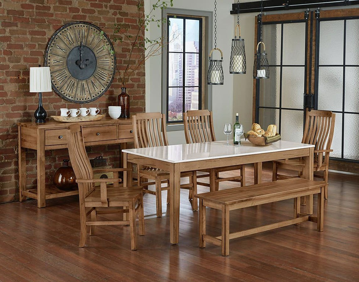 Simply Dining Quartz Top Dining Set (Natural Maple)