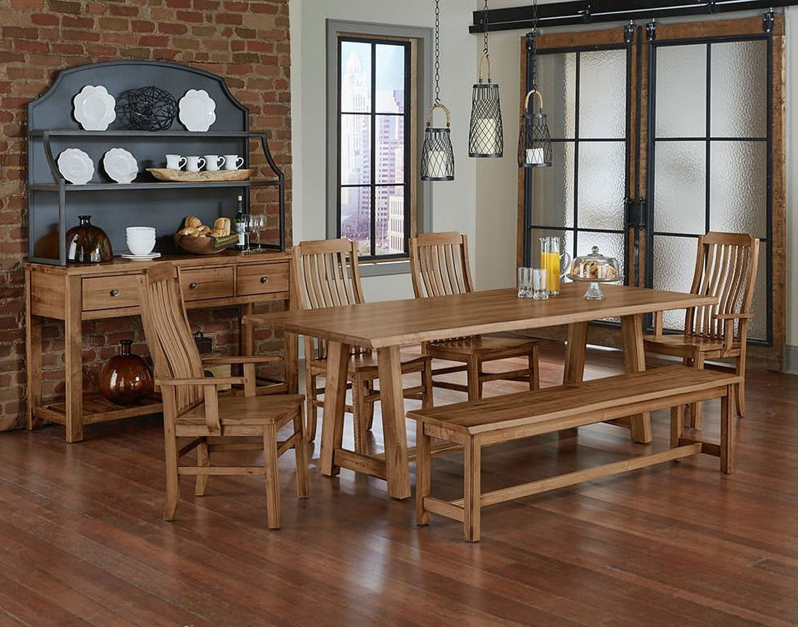 Simply Dining 90 Inch Trestle Dining Set Natural Maple
