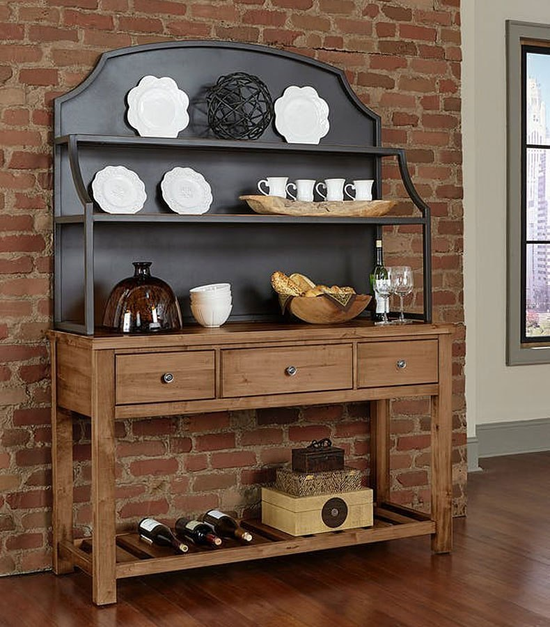 Simply Dining Server W Hutch Natural Maple