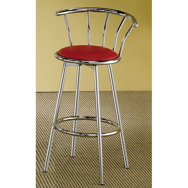 Chrome Swivel Bar Stool w/ Red Seat (Set of 2)