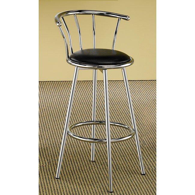 Chrome Swivel Bar Stool w/ Black Seat (Set of 2)