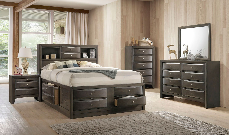 Ireland Bookcase Bedroom Set (Gray Oak) Acme Furniture