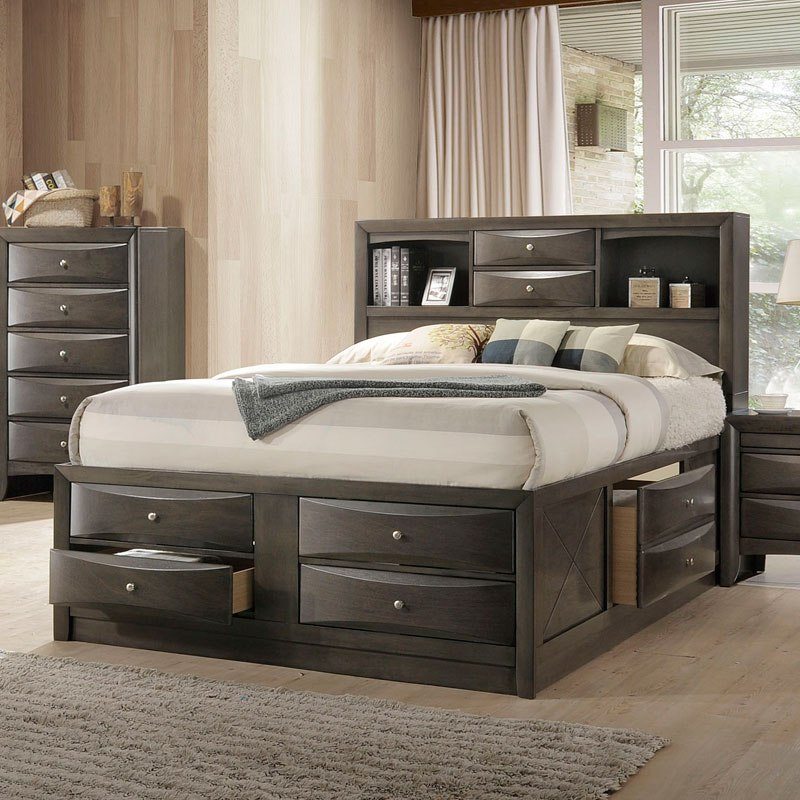 Oak Bed Bedroom Black And White Wall Bedroom Ideas Navy Blue Bedroom Inspiration Bedroom With Cathedral Ceiling: Ireland Youth Full Bookcase Bedroom Set (Gray Oak) Acme