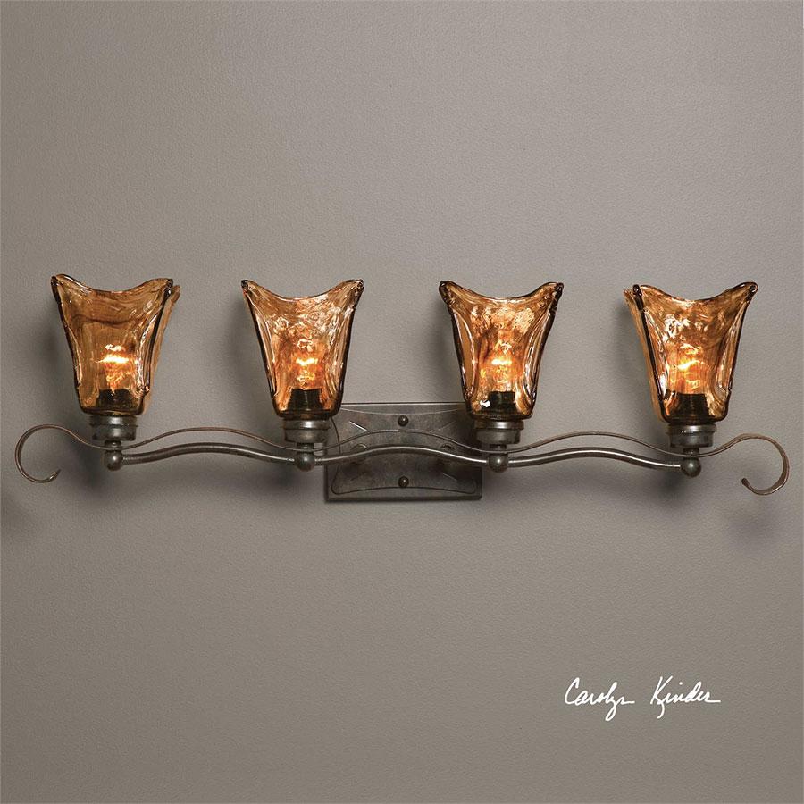 BRONZE EUROPEAN IRON HEAVY HAND MADE GLASS 2 LIGHT VANITY STRIP WALL LIGHT