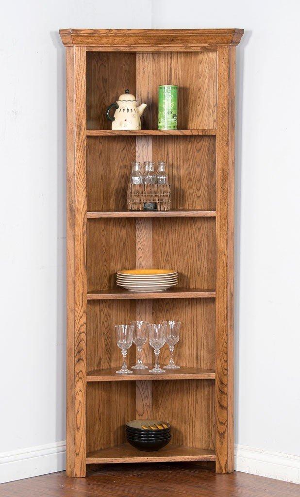 Sedona Corner Curio Bookcase Sunny Designs Furniture Cart